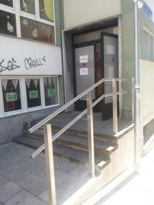 Puerta del colegio Antonio Mendoza, en la esquina de Mendoza con Cisneros