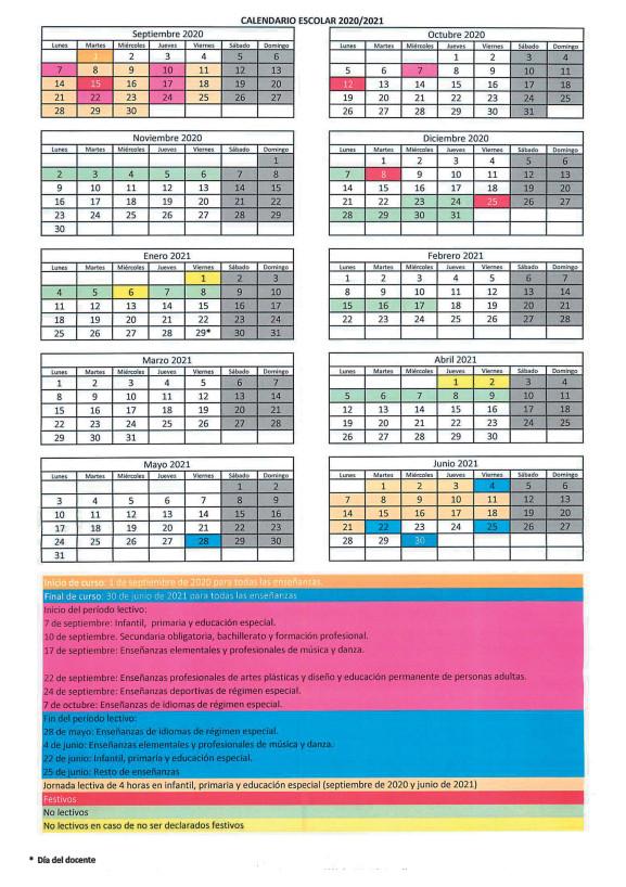Calendario 2020/2021